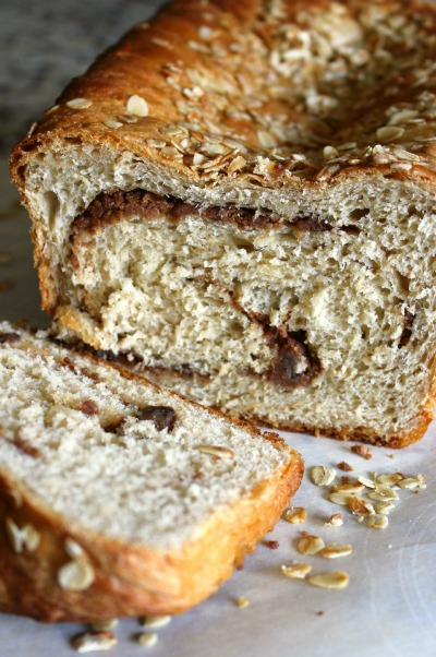 Honey Oat PB Swirl Bread - Sliced